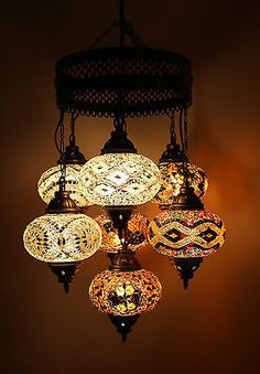 Multicolour Turkish Moroccan Style Large Mosaic Hanging Lamp Light 7 Large Globe
