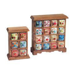 Handmade & Painted Ceramic 16 Drawer Storage Chest Mango Wood - Indian Furniture | Elephant Interiors