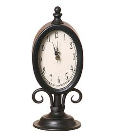 old table clock with black metal trim product table material wood metal an