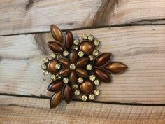 Vintage Triangular Shaped Brooch Brown and by vintagerepublic1