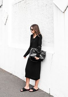 modern legacy - Celine cross slide sandals + Bassike knit midi dress + Alexander Wang Prisma tote bag #all black