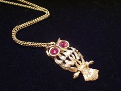 Vintage Gold Tone Red Eyed OWL Pendant Necklace by LoveLockets, $20.00