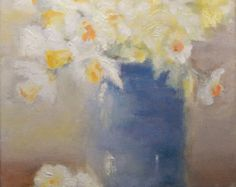 Original oil impressionist painting Daffodils print 8X10 matted for 11X14 frame