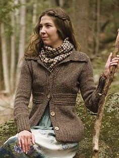 Nonpareil is an everyday cardigan, the kind you will wear all through the winter. It features a wide lapel collar and an accentuated waist with touches of twisted rick-rack like stitches throughout. The central band is knit like a scarf and the tops and bottoms are knit up and out from there, making this an unusually fun knit.