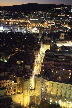 Spettacolare veduta notturna sui tetti di  Genova, Liguria - © Roberto Merlo