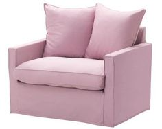 'Harnosand' polyester & cotton blend fabric armchair in Olstorp Light Pink, $249, Ikea.