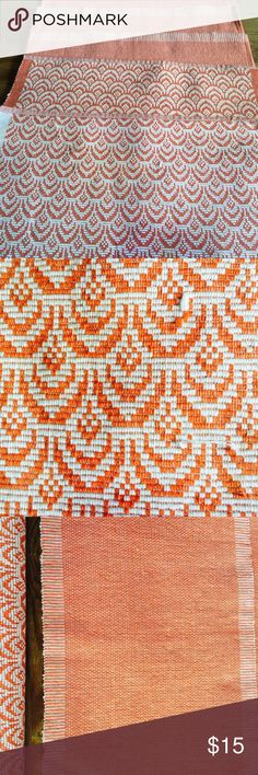 6 cotton weave placemats 4 orange & white, 2 same color orange patterned Free People Other