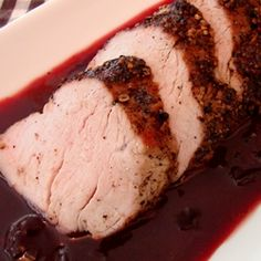 Black Pepper crusted Pork Tenderloin with Black Cherry Reduction- super simple sauce that tastes like something that took hours, classic flavor combination of hot/tangy with sweet/fruity and best of all easy piece of meat Pork Tenderloin Recipes, Pork Recipes, Cooking Recipes, Pork Loin, Yummy Recipes, Cooking Pork, Chicken Recipes, Recipies, Black Cherry Recipes