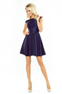Dámské společenské šaty NUMOCO krajkové modré ec452e5ce2