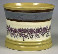 ENGLISH YELLOW WARE CAN WITH MOCHA SEAWEED DECORATION - Cowan's Auctions