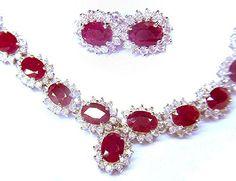38.40ct Rubin & #Diamanten Halskette & Ohrringe aus 14 K #Gold