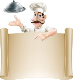 Buy Chef Menu Banner by Krisdog on GraphicRiver. Drawing of a chef holding a silver platter or cloche pointing at a paper scroll or menu Chef Pictures, Kitchen Clipart, Cartoon Chef, Borders And Frames, Writing Paper, Menu Cards, Note Paper, Digital Stamps, Recipe Cards