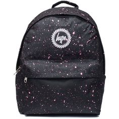 Black and Pink Speckle Backpack by Hype (1 000 UAH) ❤ liked on Polyvore featuring bags, backpacks, black, pink and black bag, backpack bags, hype bags, knapsack bag and hype backpack
