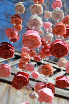 Baby Mobile Filz Blume Swarovski Crystal Farben rosa von byAllySen