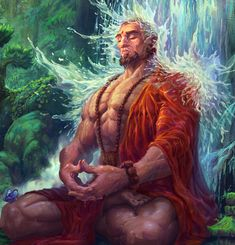 m Monk Asian Faction Robes Waterfall Hills Jungle Draw Character, Character Concept, Concept Art, Shiva Art, Hindu Art, Fantasy Images, Fantasy Artwork, Fantasy Inspiration, Character Inspiration