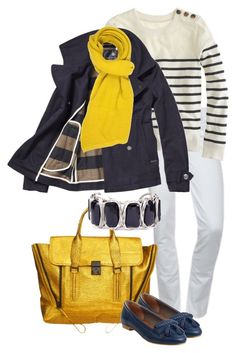"""""""Yellow & Navy"""" by simple-wardrobe ❤ liked on Polyvore featuring Hudson Jeans, J.Crew, Scotch & Soda, Forever 21 and 3.1 Phillip Lim"""