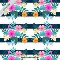Aquarela fundo floral com listras Vetor grátis