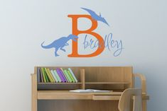 Kid's Name Dinosaur Decal - Wall decals - Dinosaur Decal - Boys room decal - Personalized Decal - Kids Decals - Decals - Vinyl decals