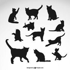 黒猫のシルエットが設定され 無料ベクター
