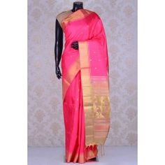 Pure Handloom Weaving Silk-Bright Pink