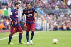 Barcelona's Leo Messi and Neymar Jr are in action during the Spanish league football match between the FC Barcelona and the RCD Espanyol at Camp Nou...