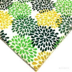 Green and Mustard Printed Cotton Fabric