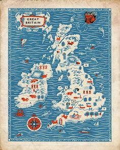 "Vintage England Map ""Great Britain"" Antique British Map - Red White and Blue Nautical Art Print - Mid Century Modern Art"
