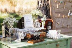Vintage Camera Photo Booth Guest Book Garden Outdoor Rustic California Destination Wedding http://www.ryangreenleaf.com/