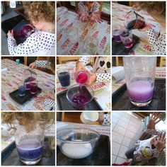 Creating colourful cabbages. Vinegar, bicarbonate and red cabbage!