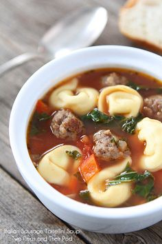 Italian Sausage Cheese Tortellini Soup on www.twopeasandtheirpod.com An easy and hearty soup recipe! @Maria (Two Peas and Their Pod)