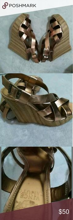 Vince Camuto Hattie Size 8B/38 Bronze Wedges Vince Camuto Hattie Size 8B/38 Bronze Strappy Espadrille Wedges Summer Sandals. Very good used condition. Vince Camuto Shoes Wedges