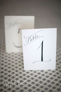 Wedding Reception Table Numbers Black Ink Hand by RachelCarl