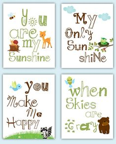 Forest Animals Art You Are My Sunshine Forest by LittlePergola, $55.00
