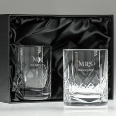 Personalised Cut Crystal Tumblers - Mr and Mrs