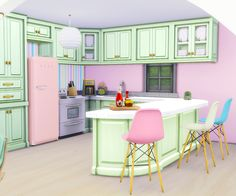 My Sims 4 Blog: Pink Spring House, Kitchen Recolors, Wallpaper & Floors by DaniParadise