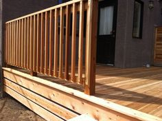 Cedar Deck Railing Designs Visit more Deck Railing Ideas http://awoodrailing.com/2014/11/16/100s-of-deck-railing-ideas-designs/