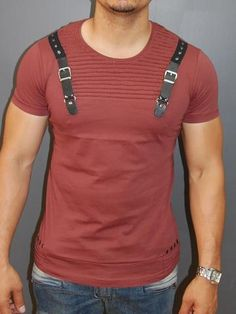 E1 Men Faux Leather Buckle Ribbed T-shirt - Burgundy