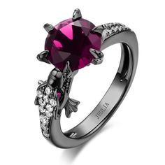 Modern Dragon Created Pink Sapphire Rhodium Plated Designer Sterling Silver Engagement Ring