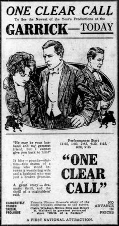 Newspaper ad for the American film One Clear Call (1922) with Claire Windsor, Milton Sills, and Henry B. Walthall, on page 7 of the July 8, 1922 Duluth Herald.