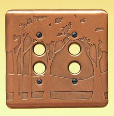 Landscape Double Push Button Copper Switchplate, Copper Switchplates, Accessories, Copper