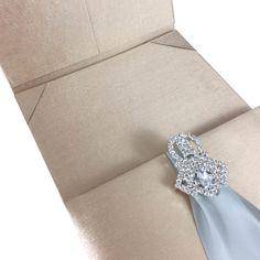 Champagne Couture Invitation Folder With Dupioni Silk & Rhinestone Clasp For Prestige Wedding Invitations