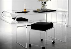 curve clear acrylic desk