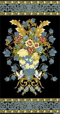 """Marbella - Italianate Centerpiece - Black/Gold - 24"""" x 44"""" PANEL"""