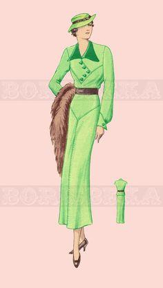 vintage DRESS sewing pattern 30s PDF by borisbeka on Etsy