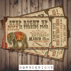 Vintage Circus Ticket Birthday or BabyShower by TotallyInvited, $13.00