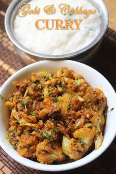 YUMMY TUMMY: Gobi with Cabbage Recipe - Cauliflower and Cabbage Curry Recipe