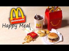 Miniature Happy Meal - McDonald's Inspired Polymer Clay Tutorial - YouTube - This amazing miniature was created by Sugarcharmshop.