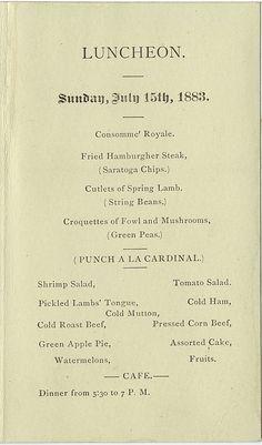 Galt House Louisville, Ky.,  menu from July 15, 1883 (a Sunday).