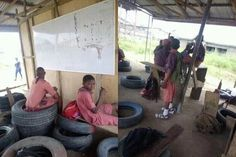 See Disturbing Photo Of  School Students Using Car Tyres As Chairs In Lagos Secondary School