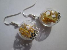 Blüten-+Ohrring+Ringelblume+gelb+gefüllt+von+Schmuckstück+auf+DaWanda.com